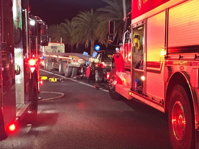 This was the scene Tuesday night on Interstate 75 near U.S. 27 in Ocala. Two people died in a two-vehicle wreck.