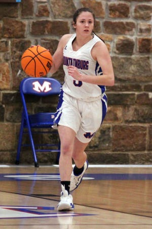 Mountainburg guard Annie Beasley brings the ball up the court to face the Lavaca defense in the third period tuesday night at Mountainburg, Tuesday, Jan. 19, 2021. Beasley leads her team on and off the court and hopes her leadership sets an example for years to come.