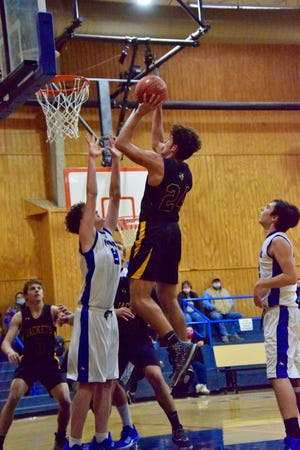 The Menard Yellowjackets flew into Olfen and defeated the Mustangs, 70-26 on Tuesday evening.