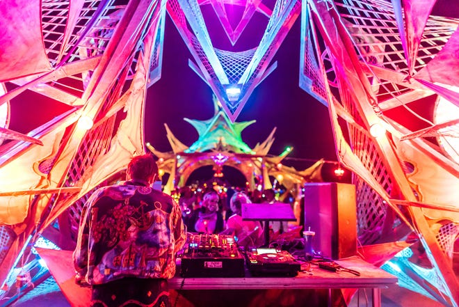Ben Annand deejaying at the Burning Man Festival 2018, Electric Oasis Stage.