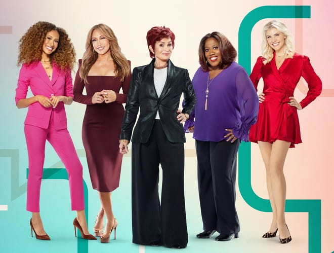"Amanda Kloots (right) recently joined the cast of the CBS talk show ""The Talk."" Also pictured are (from left) Elaine Welteroth, Carrie Ann Inaba, Sharon Osbourne and Sheryl Underwood."