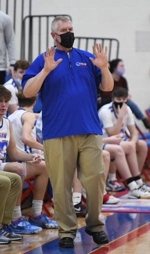 Tuslaw coach Steve Sauls coaches during the Mustangs' win over Northwest on Tuesday, January 19, 2021.  (IndeOnline.com / Kevin Whitlock)