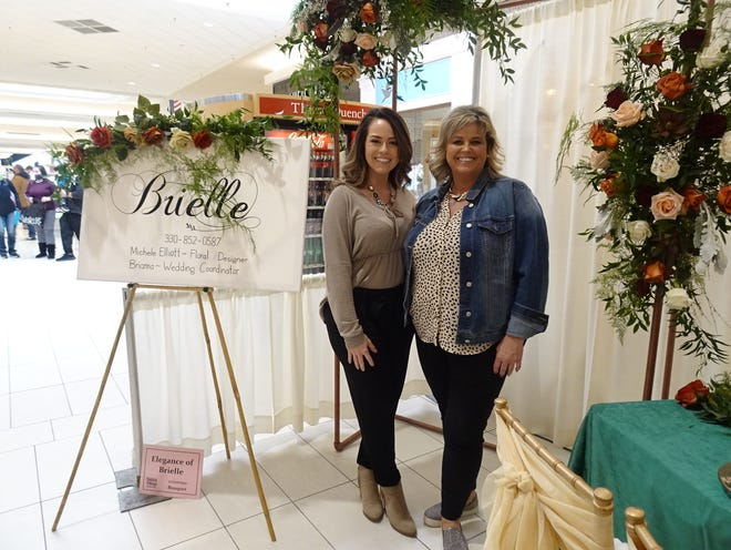 Daughter Brianna Briggs and mother Michele Elliott from Elegance of Brielle in Sugarcreek were among the vendors at the annual Belden Village bridal show.