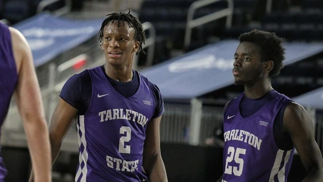 Tarleton's Freddy Hicks, left, and Shamir Bouges pause during a game last week against California Baptist. The TSU Men's previously scheduled weekend series against Seattle U has been canceled due to COVID19 protocol within the Seattle U program.