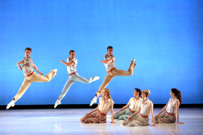 "Sarasota Ballet dancers perform a scene from Paul Taylor's ""Company B,"" set to music by the Andrews Sisters in a digital program that also includes Taylor's ""Brandenburgs."""