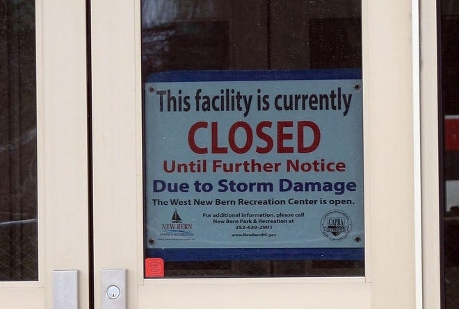 The Stanley White Recreation Center in New Bern has been closed since September 2018 due to water damage from Hurricane Florence. [TODD WETHERINGTON / SUN JOURNAL STAFF]