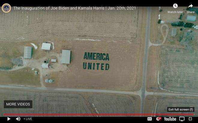 "A screenshot taken from the ""Parade Across America"" shows Kansan Stan Herd's earthwork design that he and his team emblazoned into the earth in a field outside Lawrence."