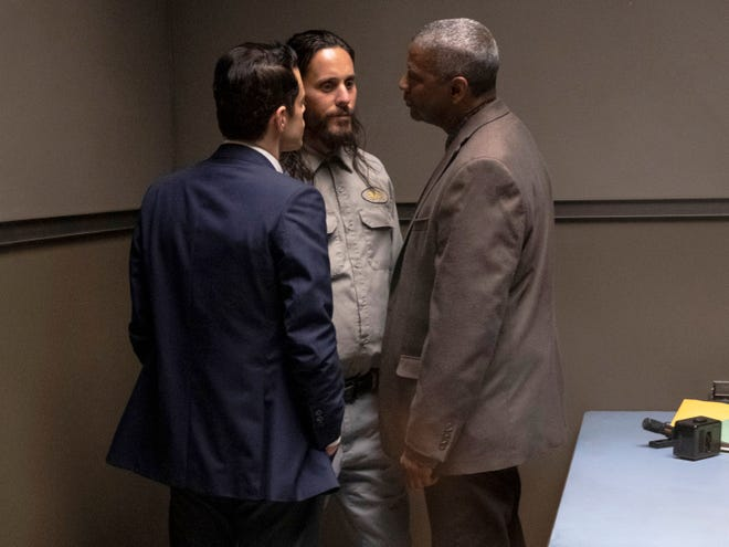 """From left, Rami Malek, Jared Leto and Denzel Washington in a scene from """"The Little Things."""""""