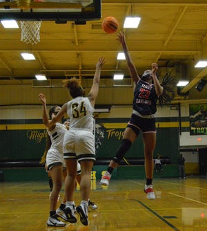 Terry Sanford sophomore Miya Giles-Jones (23) scored a career-high 31 points to help the Bulldogs improve to 5-0 on the season.