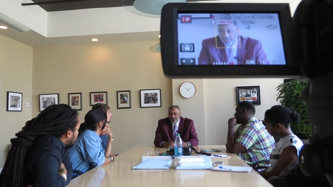 Justin Hosbey and a group of the Samuel Proctor Oral History Program research team interviews Anthony Ray Hinton at the Equal Justice Initiative in Montgomery, Ala. Hinton was wrongfully convicted and spent 30 years on death row. He was released April 3, 2015 and the interview was June 16, 2015.