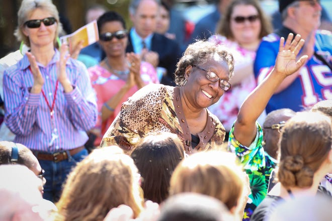 Community advocate Joan Canton is recognized during the grand opening of the SWAG Family Resource Center's Southwest Health Clinic in the Linton Oaks neighborhood in southwest Gainesville in March 2015. Canton died Saturday. She was 79.