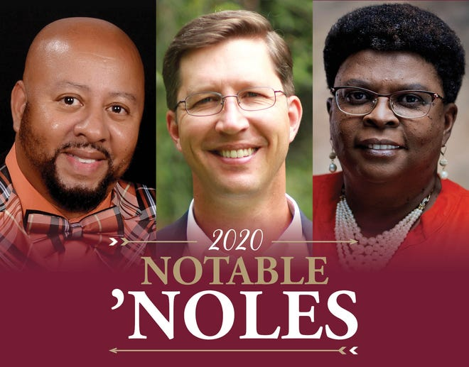 """The 2020 Noteable 'Noles from FSU Panama City are, from left, Albert """"A.J."""" Bacon, Kevin Elliott, and Janice Lucas."""