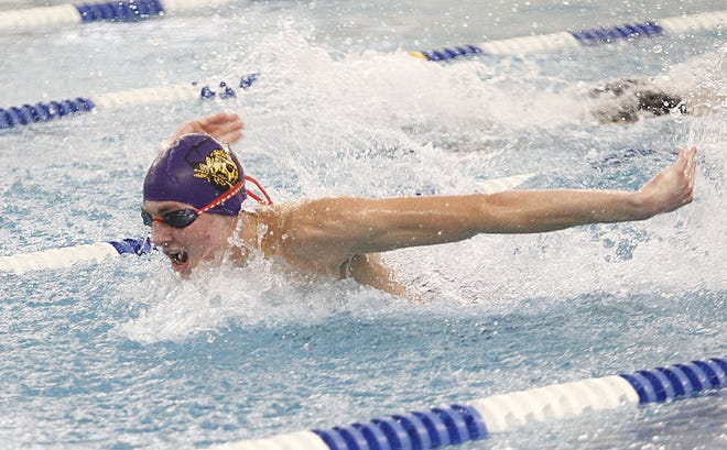 Reynoldsburg's Nate Gaver swims in the 200-yard individual medley Jan. 15 during a meet against Westerville North. In the Division I state meet last season, Gaver was seventh in both the 50 freestyle and 100 free.