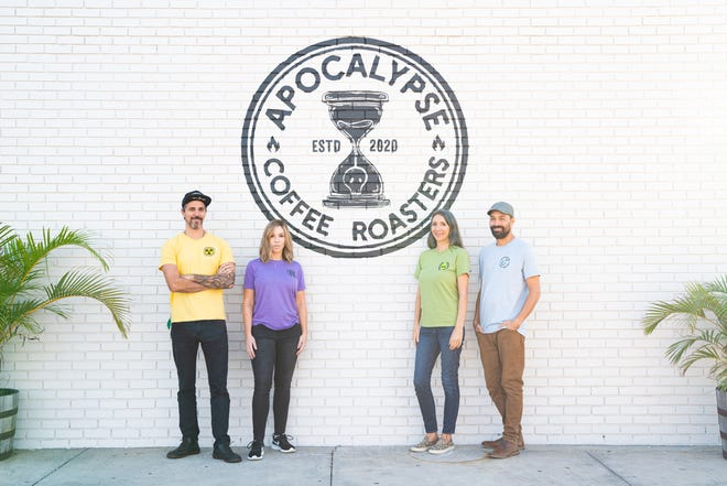 Mike and Lisa Della Cioppa, Christine Della Cioppa and Justin Murphy are the team behind Apocalypse Coffee Roasters in Melbourne.