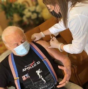 Astronaut Buzz Aldrin Receives the COVID-19 Vaccine