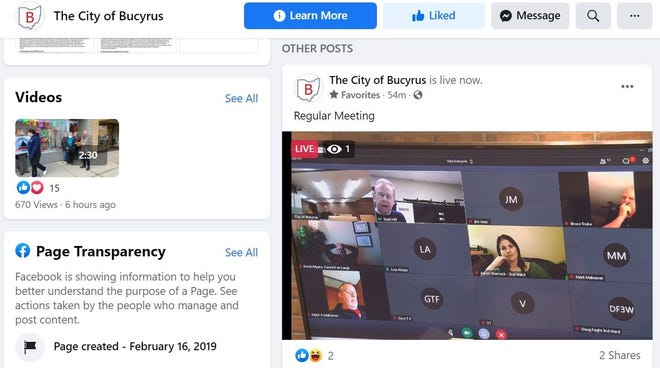 Bucyrus City Council meetings can be viewed on the city's Facebook page. Tuesday night's meeting, which took place via the GoToMeeting app due to the coronavirus emergency, was the first streamed using the city's new camera equipment.