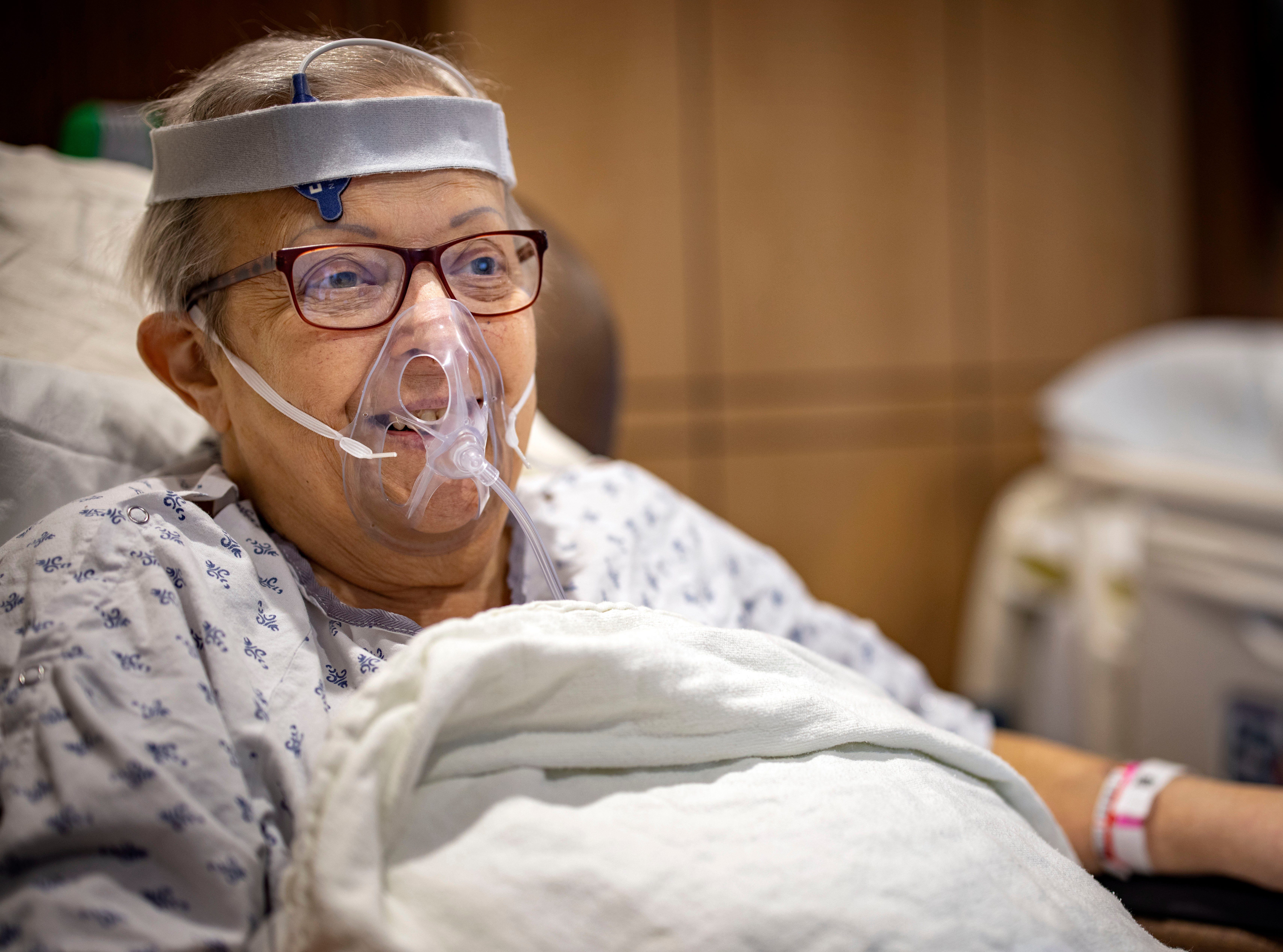 Jan Beeghly recovers in a room on the COVID floor at Mary Greeley Medical Center on Dec. 9, 2020. Beeghly died Feb. 2.