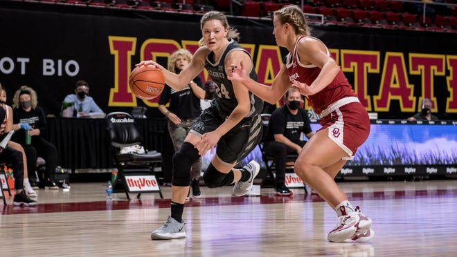 Iowa State junior Ashley Joens drives to the basket during her team's game against Oklahoma on Tuesday night.