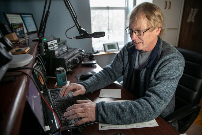 Bill LaBell of Allouez Township makes a call on his ham radio on Sunday Oct. 25, 2020.