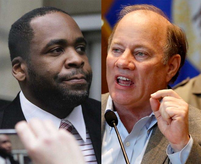 Former Detroit Mayor Kwame Kilpatrick, left and current Mayor Mike Duggan, right.