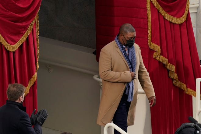 U.S. Capitol Police Officer Eugene Goodman arrives for the 59th Presidential Inauguration at the U.S. Capitol in Washington, Wednesday, Jan. 20, 2021.
