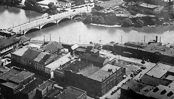An aerial view of the downtown Fremont area in 1930s.