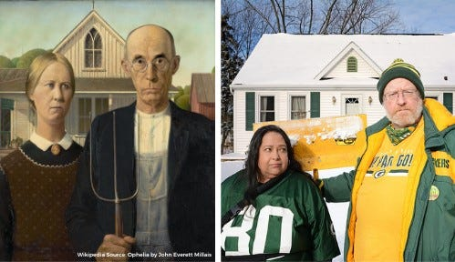"""American Gothic"" gets a green and gold interpretation from Mike and Indi Riley for The Art Garage's Doin' the Classics fundraiser."