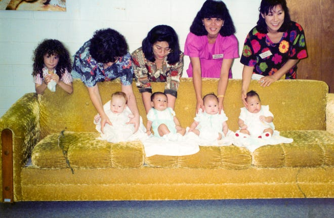 They didn't know it at the time but babies Gabe Martinez, left, and Jessa Mesa, right, were destined for each other.