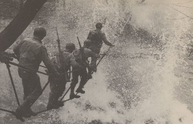 Camp Breckinridge training during a bomb burst. Sometimes the practice shells blew up -- and sometimes they didn't. When they didn't, bomb disposal experts were often called in decades later to explode them.
