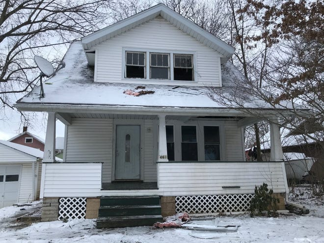 Fire damaged a vacant house at 461 Busch Place at 11:37 p.m. Tuesday, according to the Mansfield Fire Department.