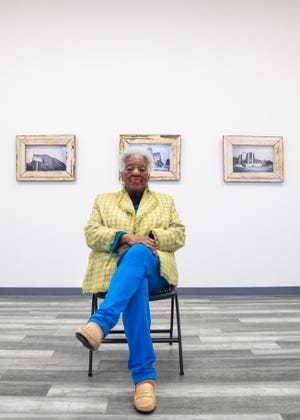 Mary Mitchell poses for portrait inside Orange Mound Gallery (OMG) in Memphis, Tenn., on Tuesday, Jan. 19, 2021.
