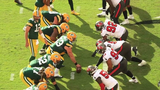 ESPN's simulation of the upcoming football season features an NFC title-game rematch between the Bucs and Packers, this time in Tampa. And there's good news! But also bad news.