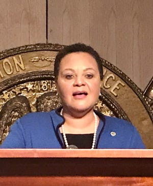 State Sen. Karen Carter Peterson, D-New Orleans, speaks on January 20, 2021 after qualifying to run for Louisiana's 2nd Congressional District seat.