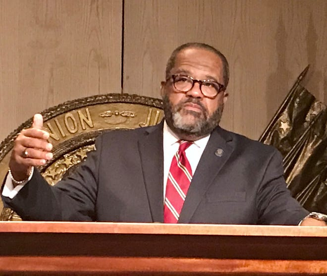 State Sen. Troy Carter, D-New Orleans, speaks on January 20, 2021 after qualifying to run for Louisiana's 2nd Congressional District seat.