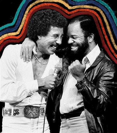 Smokey Robinson, left, and Berry Gordy at the Greek Theater in Los Angeles in 1981.