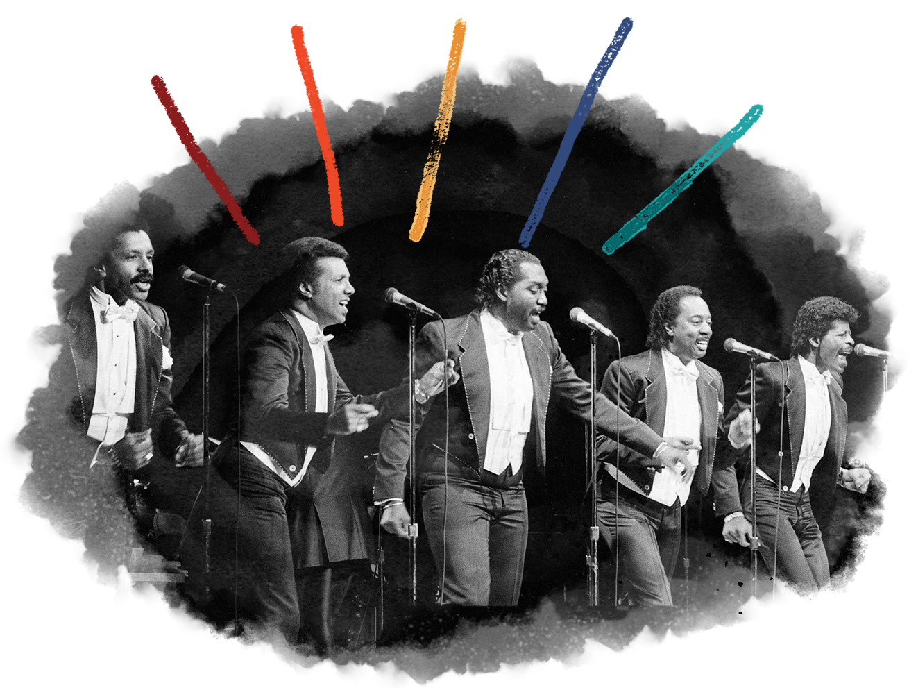 """The Temptations sing one of their Motown hits for 4,400 soul music fans that packed the Grand Ole Opry House on Feb. 23, 1986. They shared the stage with the Four Tops as part of the """"Tempts and Tops"""" tour."""