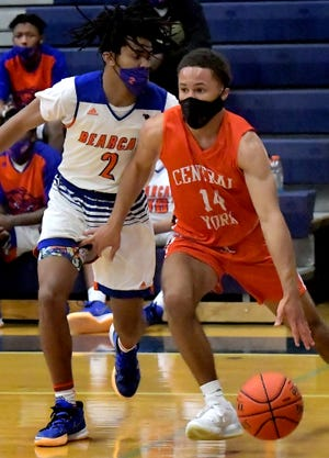 Central York's Kai'ryn Brown, seen here at right in a file photo, scored 21 points on Wednesday night in the Panthers' 80-77 win over McCaskey.