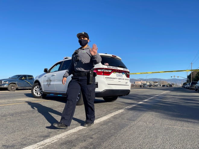 Salinas police investigate a homicide near Russell Road on Wednesday, January 20, 2021.