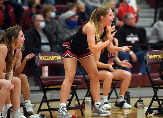 Grace Gerken cheers on her teammates during Brandon Valley's upset win over Harrisburg on Tuesday, January 19, at Harrisburg High School.