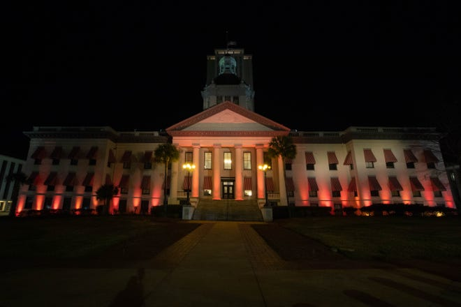 The Florida Historic Capitol is lit in memorial for the over 400,000 Americans who have lost their lives to COVID-19 in the past year as part of the Biden-Harris inauguration's national moment of unity Tuesday, Jan. 19, 2021.
