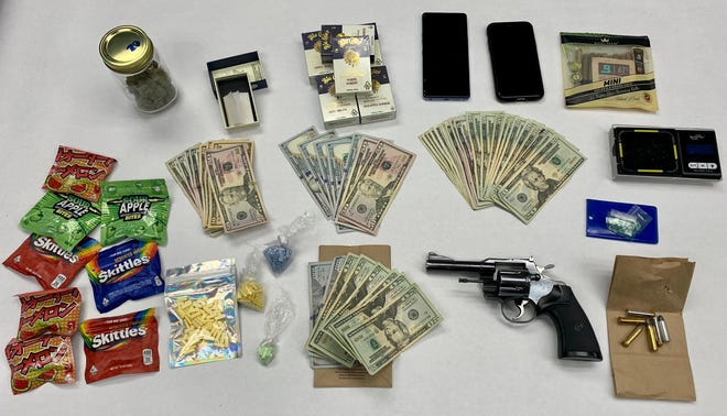 Items seized during a traffic stop involving a suspected Xanax dealer in Oxnard on Tuesday.