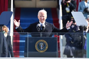 President Joe Biden waves to the crowd after being sworn in during his inauguration and the inauguration of Vice President Kamala Harris at the U.S. Capitol on Jan. 20, 2021.