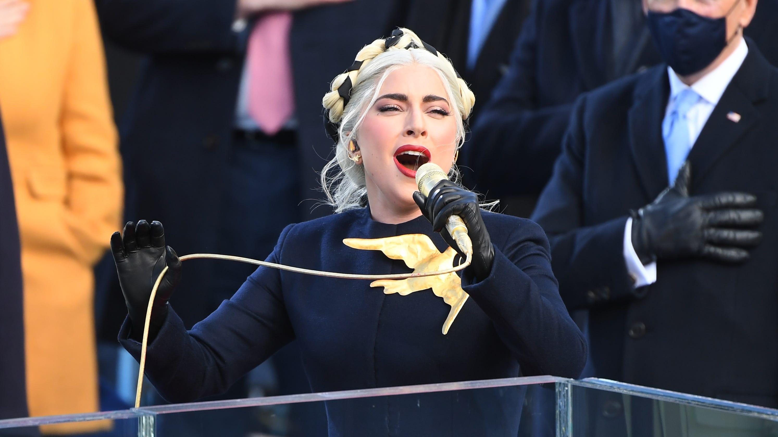 Lady Gaga stuns with rousing national anthem at Biden inauguration