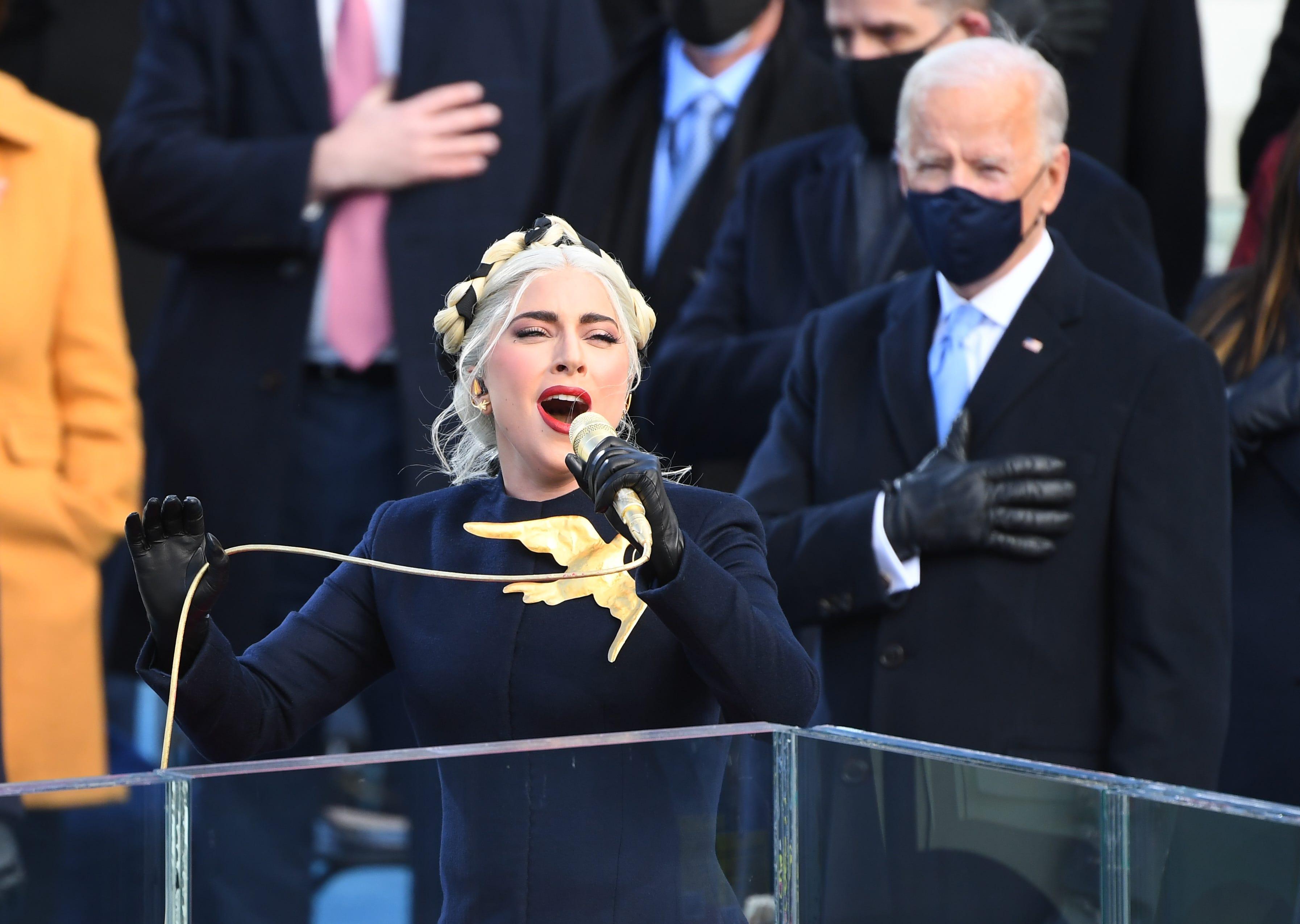 Lady Gaga inauguration national anthem performance stuns