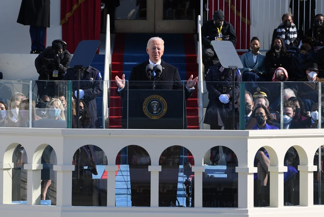 President Joe Biden addresses the nation after being sworn in during the 2021 Presidential Inauguration on Wednesday, Jan. 20, 2021, at the U.S. Capitol.