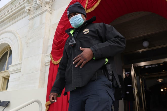 Capitol Officer Eugene Goodman, hailed by many for his heroism during the January 6 attack on the U.S. Capitol, participates in a dress rehearsal for the inauguration of Joe Biden at the Capitol on January 18, 2021, in Washington, D.C.