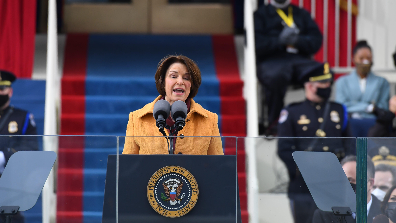 Sen. Amy Klobuchar addresses the 2021 Presidential Inauguration of President Joe Biden and Vice President Kamala Harris at the U.S. Capitol.