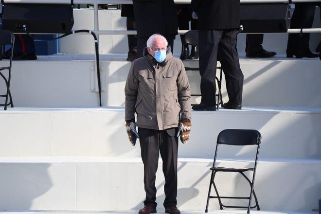 Sen. Bernie Sanders, I-Vermont, arrives to the 2021 inauguration of President Joe Biden and Vice President Kamala Harris at the U.S. Capitol.