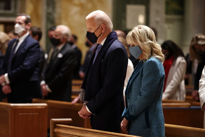 President-elect Joe Biden and Dr. Jill Biden attend services at the Cathedral of St. Matthew the Apostle on Jan. 20, 2021 in Washington, DC.