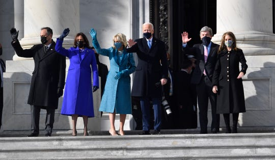 Jan 20, 2021; Washington, DC, USA; President Joe Biden and Vice President Kamala Harris take part in a Pass in Review with members of the military on the East Front steps of the U.S. Capitol during the 2021 Presidential Inauguration of President Joe Biden and Vice President Kamala Harris at the U.S. Capitol.